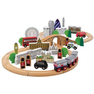 Tidlo 50 Piece Wooden City of London Train Set