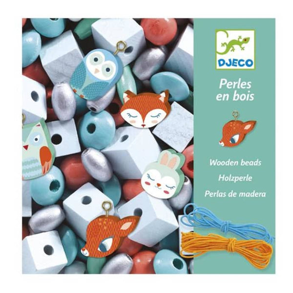 Djeco Wooden Threading Beads - Little Animals