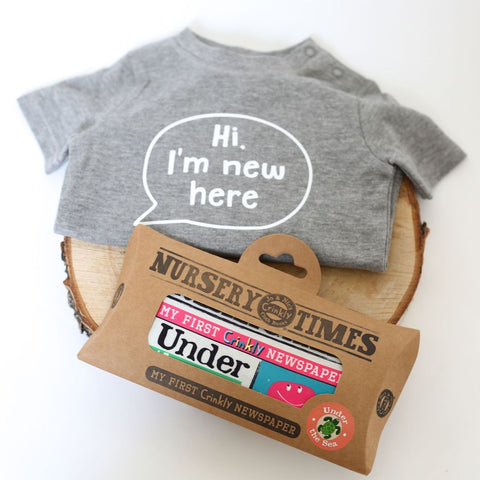 Baby Gift Set - Organic T-Shirt and Crinkly Cloth Newspaper