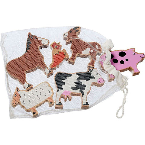 Farm Animals - Bag of 6 wooden characters from Lanka Kade