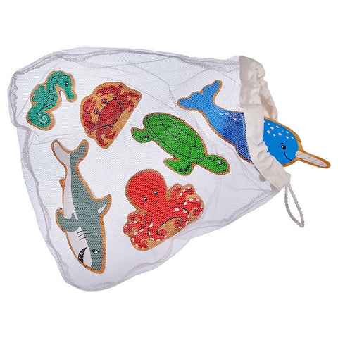 Sea life - Bag of 6 wooden characters from Lanka Kade