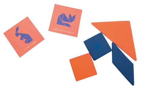 Image of the cards and some of the blue and orange wooden pieces - try and recreate the image on the card