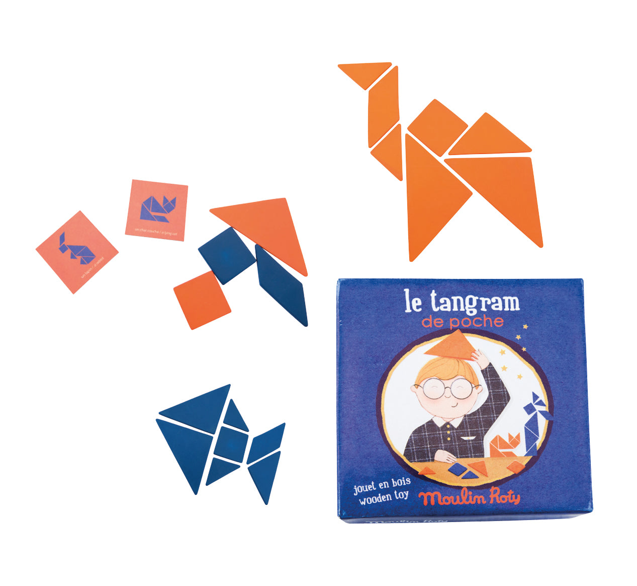 Image of the Tangram box, two playing cards and the orange and blue wooden shapes