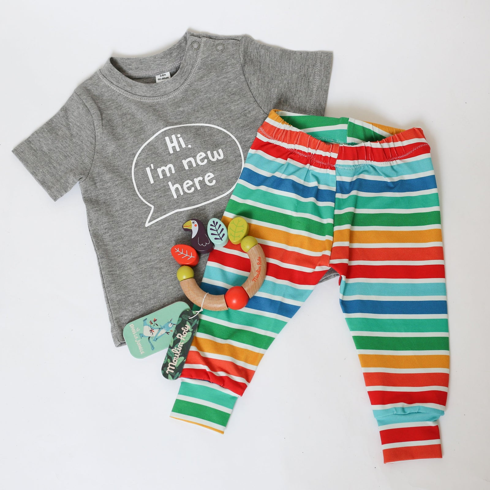 Baby Gift Set - Organic Multicolour Stripe Leggings and T-Shirt