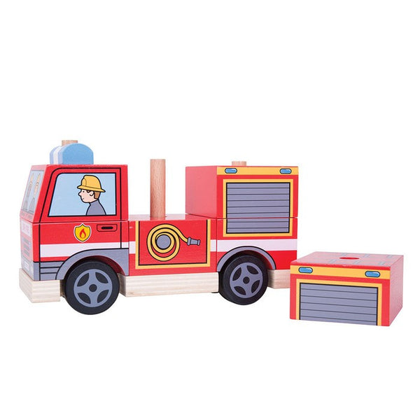 Two toys in one this fire engine can be stacked and then moved along like a normal truck