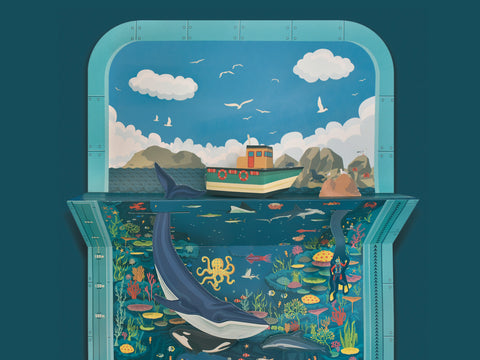 A beautifully illustrated seascape detailing many of the creatures you would find in the ocean