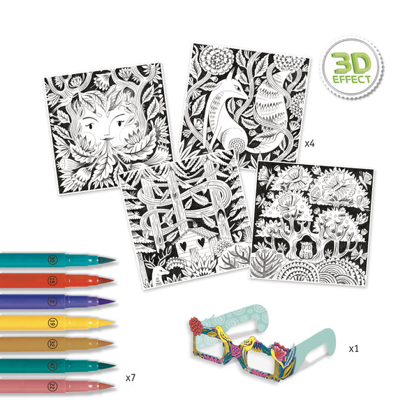 3D Colouring Art Set Fantasy Forest from Djeco