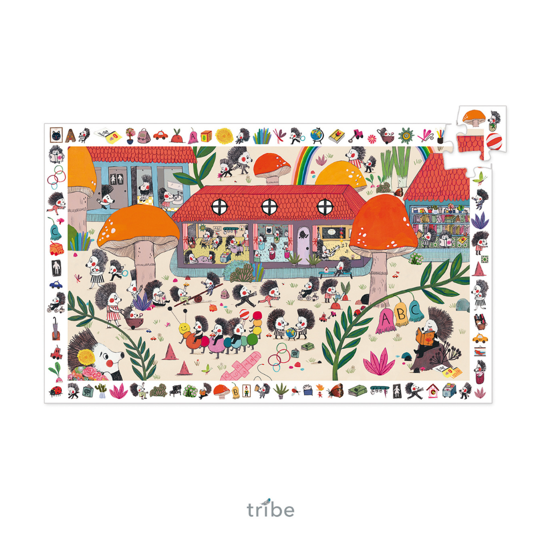 Hedgehog School Observation Jigsaw Puzzle by Djeco