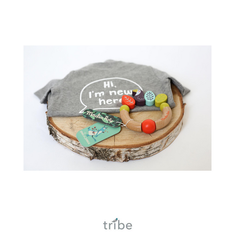 Baby Gift Set - Organic T-Shirt and Wooden Rattle