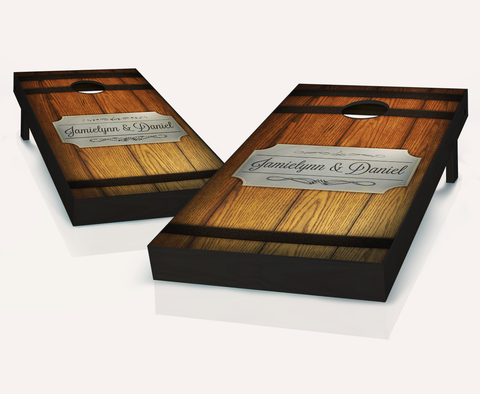 Barrel Plaque Cornhole Board