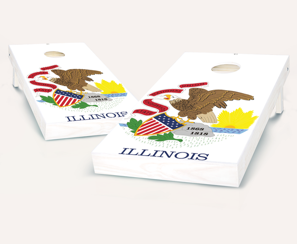 Illinois Flag Cornhole Boards