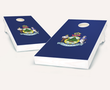 Maine Flag Cornhole Boards