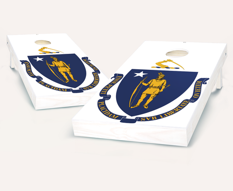 Massachusetts Flag Cornhole Boards