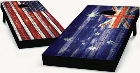 American and Australian Flag Cornhole Boards