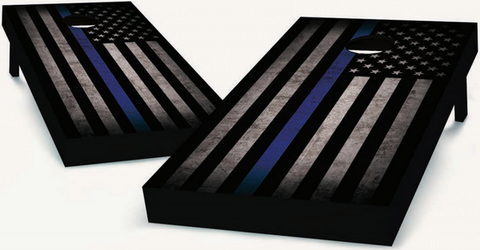 blue stripe cornhole boards