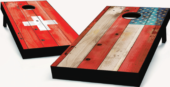 Swiss and American Flag Cornhole Boards