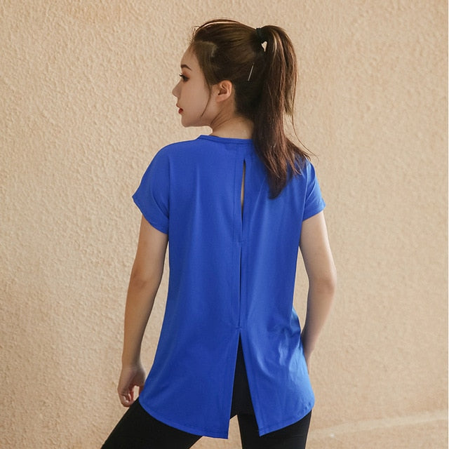 Plus Size Back Keyhole & Split Training Top  L-4XL