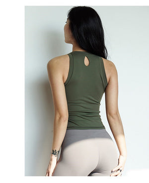 Athletic Aha! Slim Fitting Tank- With Removable Cups