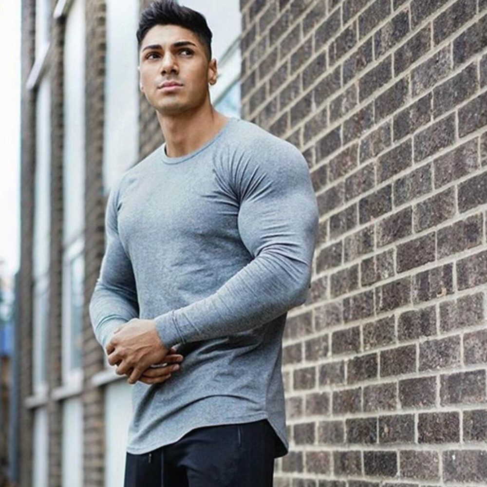 Men Workout Fitted Long Sleeve Casual Shirt