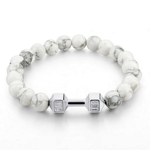 White Stone Fit Life Barbell Bracelet