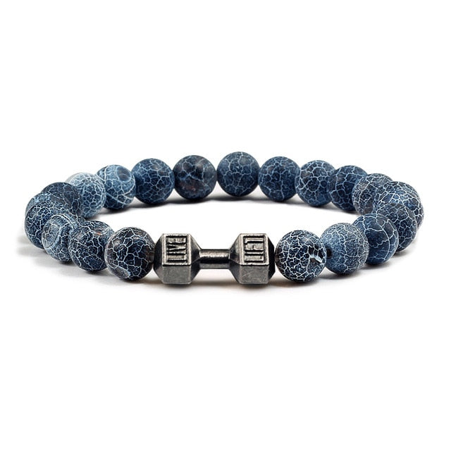 Black Weathering Beads Dumbbell Bracelet