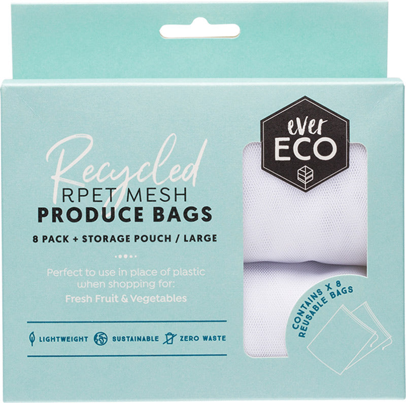 Reusable Produce Bags RPET Mesh - 8 pack