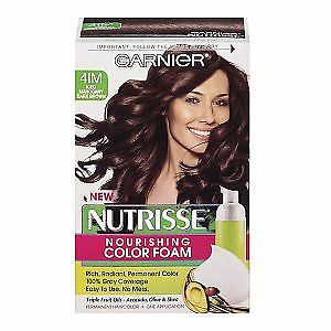 Garnier Nutrisse Nourishing Color Foam, 4im Iced Mahogany Dark Brown, Hair Color, Garnier, reddonut.com