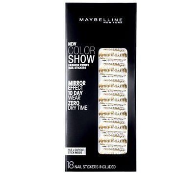 Maybelline Fashion Prints Mirror Effect Nail Stickers - 10 Golden Distress New, Artificial Nail Tips, Maybelline, reddonut.com
