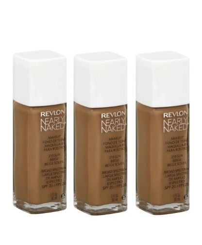 Lot Of 3 - Revlon Nearly Naked Liquid Makeup # 210 Sun Beige. Spf 20 New, Foundation, Revlon, reddonut.com
