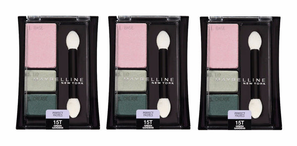 Lot Of 3 Maybelline Perfect Pastels Eyeshadow Trio #15t Green Gardens__Maybelline