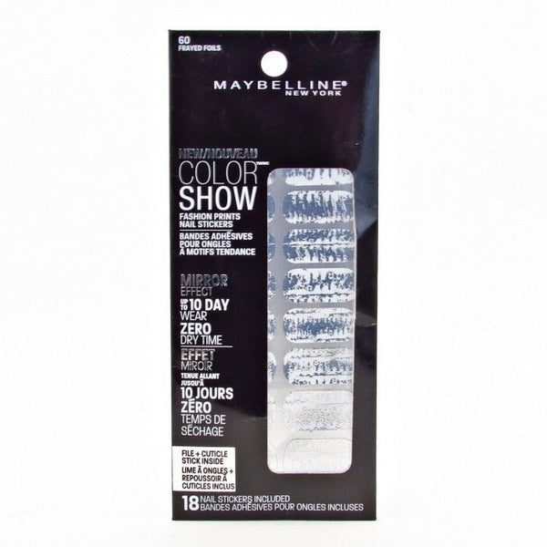Maybelline Color Show Fashion Prints Mirror Effect Nail Stickers 60 Frayed Foils__Maybelline