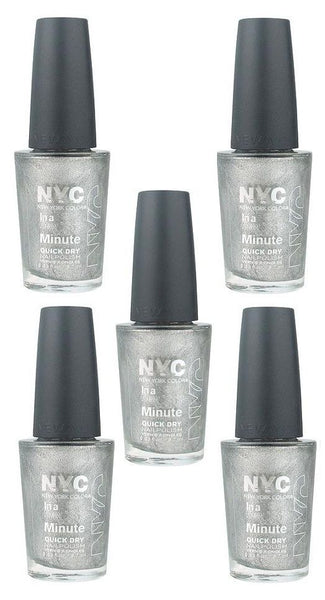 Lot Of 5 - Nyc In A New York Color Minute Nail Polish #292 Tribeca Silver__NYC