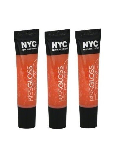 LOT OF 3 - N.Y.C. / NYC Kiss Gloss #534 Tribeca Tangerine, Lip Gloss, NYC, reddonut.com