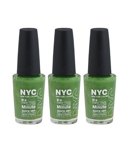 Lot Of 3 - Nyc New York In A Minute Quick Dry Nail Polish High Line Green #298, Nail Polish, NYC, reddonut.com