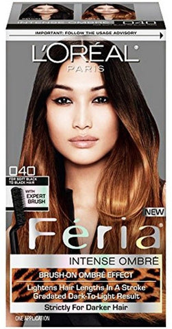 L'Oreal Paris Feria Intense Ombre Hair Color, Soft Black To Black O40, Hair Color, L'Oreal, reddonut.com