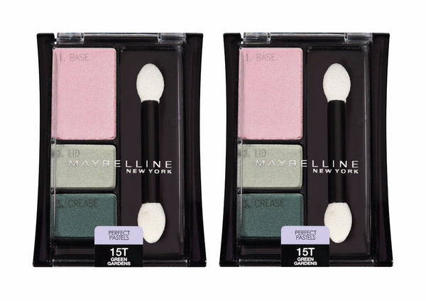 Lot Of 2 Maybelline Perfect Pastels Eyeshadow Trio #15t Green Gardens__Maybelline