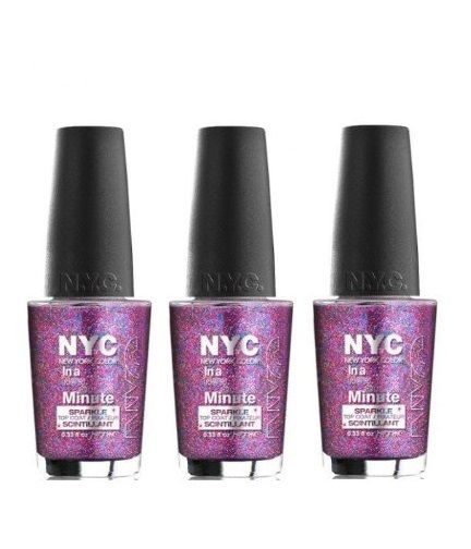 Lot of 3 - New York Color in a New York Color Minute Nail Polish Big City Dazzle - reddonut.com