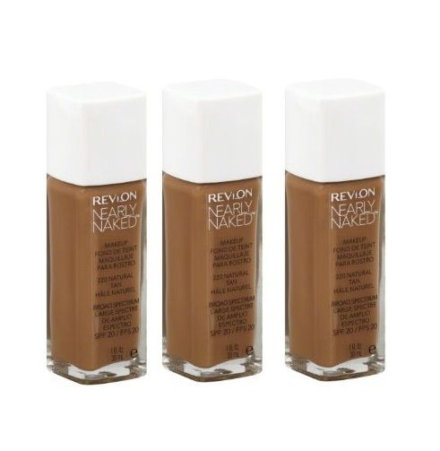 Lot of 3 - New Revlon 220 Natural Tan Nearly Naked Foundation Liquid, Foundation, Revlon, reddonut.com