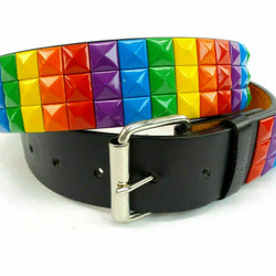 Three Row Rainbow Studded Pyramid Belt LBGT Bonded Leather Punk Rock colorful, , reddonut.com, reddonut.com