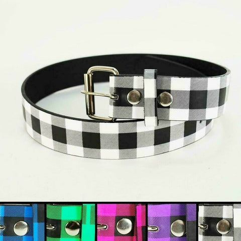 Checker Printed Leather Belt Checkered Unisex Mens Womens Plaid Punk Goth Rock, , reddonut.com, reddonut.com