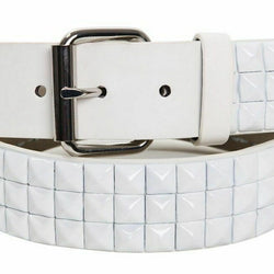 White Pyramid Studded Leather Belt Unisex Plus Sizes Punk Rock Goth Emo Biker, , reddonut.com, reddonut.com