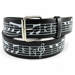 Music Staff Printed Leather Belt Treble Clef Musical Notes Sheet Unisex Men Teen, , reddonut.com, reddonut.com