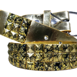 Metal Pyramid Splatter Studded Leather Belt Uni-sex Mens Womens, , reddonut.com, reddonut.com