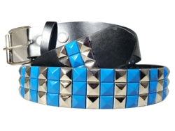 3-Row Metal Pyramid Studded Leather Belt 2-Tone Striped Punk Rock Goth Emo Biker, , reddonut.com, reddonut.com