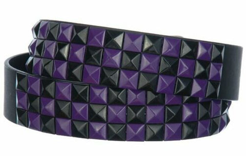 3-Row Metal Pyramid Studded Leather Belt 2-Tone Checker Punk Rock Goth Emo Biker, , reddonut.com, reddonut.com