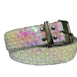 Women Lady Bling Sequins Waist Belt Metal Silver Buckle, , reddonut.com, reddonut.com