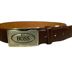Men's Genuine Leather Belt with 'Big Boss' Gun Metal Buckle, , reddonut.com, reddonut.com