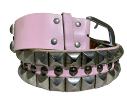 Silver Metal Pyramid Studded Leather Belt Unisex Punk Rock, , reddonut.com, reddonut.com