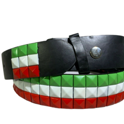 Unisex Men Women 3-Row Metal Pyramid Studded Leather Belt Country Flag Colors, , reddonut.com, reddonut.com