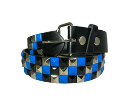 3-Row Metal Pyramid Studded Leather Belt 3-Tone Striped Punk Rock Goth Emo Biker, , reddonut.com, reddonut.com